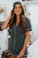 Harmaa pilkullinen satiininen lyhythihainen paita ja shortsit pyjamasetti