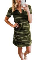 Green Camouflage Print V T-shirt Neck Cotton Mini Dress