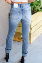 بنطال جينز بقصة مستقيمة ممزق أزرق فاتح