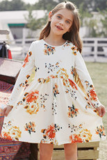 Floral White Swing Dress med skjulte lommer
