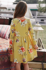Floral Mustard Swing Dress with Hidden Pockets