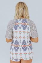 Aztec Print Leopard lyhythihainen t-paita ja kiristysnauhashortsit