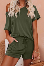 Grünes Raglan Top und Shorts Strick Lounge Set