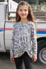 Top met lange mouwen voor meisjes met camouflageprint en knoop aan de zijkant