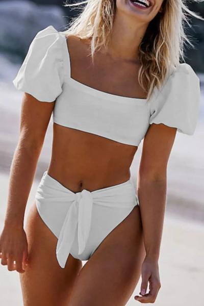 Fehér szexi buborékos ujjú, magas derékú bikini