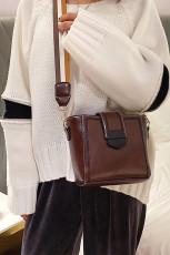กระเป๋าสะพายข้างหนัง Faux สไตล์เกาหลีสีน้ำตาล