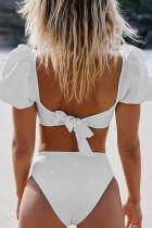 Valkoinen seksikäs kuplahihainen korkea vyötärö bikini