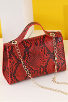 Rote Schlangenhaut Print One-Shoulder Chain Kelly Handtasche