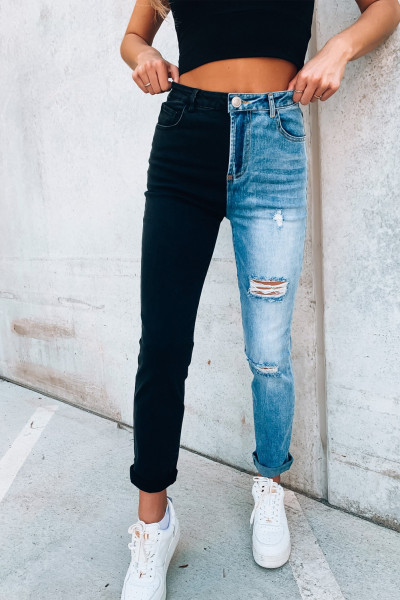 Color Block Distressed Skinny Jeans