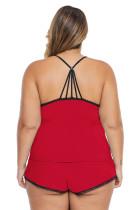Punainen Plus-kokoinen pyjama Cami -shortsisetti