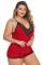 Piros plusz méretű pizsama Cami rövidnadrág készlet