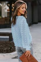 Taivaansininen Pilkullinen Lace Lantern Sleeve -paita