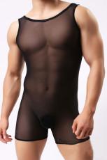 블랙 게이 남성용 투명 민소매 롬퍼