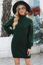 Green Mock Neck Laternenärmel Pullover Kleid