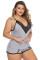 Szürke plusz méretű pizsama Cami rövidnadrág készlet