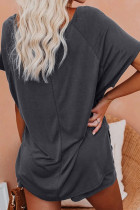 Grey Raglan Top dan Shorts Knit Lounge Set