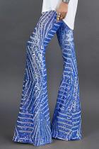 Blå paljett-bukser med brede ben