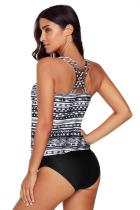 Czarne stroje kąpielowe tankini Criss Cross Hollow-out