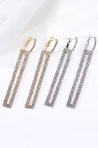 은빛 클립 온 롱 드롭 직사각형 라인 석 귀걸이