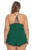 Vihreä Plus-kokoinen pyjamascami-shortsisetti