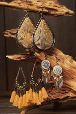 3 Pairs Bohemian Tassel Beading Feather Hollow Out Earrings