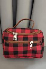Rote Plaid Print Casual Handtasche