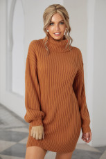 Gaun Sweater Lengan Balon Turtleneck Coklat