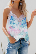 Tie-dye Lace V-hals Strappy Loose Fit Camisole