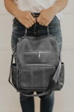 Gray Vegan Leather Convertible Backpack