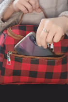 赤い格子縞のプリントカジュアルハンドバッグ