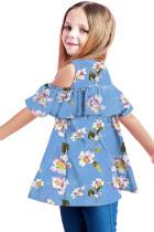 Dívčí top s nebesky rozcuchaným květinovým studeným ramenem