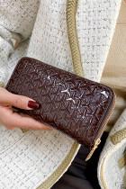 Hnědá texturovaná lesklá kabelka z umělé kůže