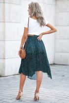 Зеленая модная юбка макси со складками и разрезом по бокам
