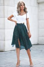 Falda larga plisada con aberturas laterales y estampado de moda verde