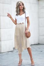 Бежевая длинная юбка со складками и модным принтом