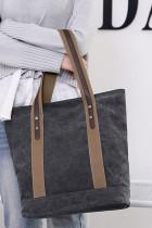 黒のコントラストショルダーストラップキャンバスハンドバッグ