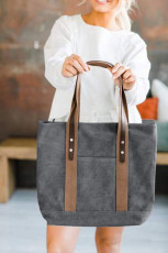 Gray Contrast Shoulder Straps Canvas Handbag