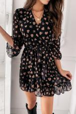 Svart Love Heart Print 3/4 ärm Ruffled Wrap Mini Dress