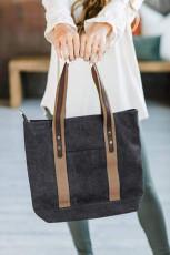 Schwarze Kontrast Schultergurte Canvas Handtasche