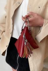 赤い三角形のリングクラッチPUハンドバッグ