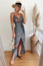Grijze maxi-jurk met bloemenprint en split