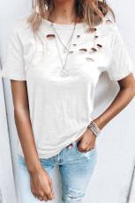 ホワイトホールクルーネックコットンミックスTシャツ