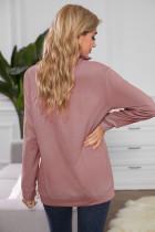 Розовый свитшот с воротником на молнии