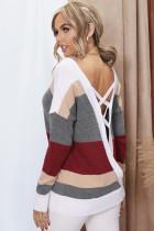 Красный вязаный свитер с крестообразным вырезом и V-образным вырезом на спине
