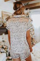 Leopard Print Satin kortermet skjorte og shorts Pyjamasett