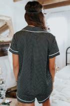 Šedá tečkovaná saténová košile s krátkým rukávem a šortky pyžama