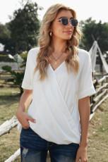 White Short Sleeves Drape Knit Top