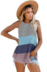 Canotta in maglia a righe grigie color block