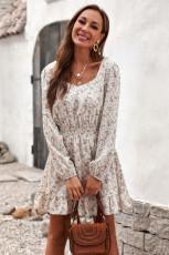 Zarif Elastik Bel Fırfırlı Çiçekli Elbise