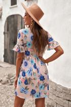 Floral φόρεμα με κοντό μανίκι και ροζ βολάν
